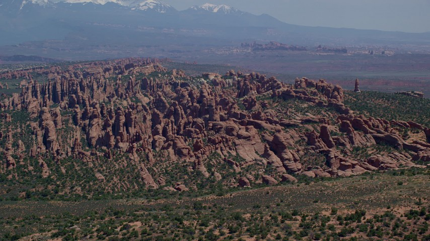 6K stock footage aerial video of rock fins and monoliths in Devil's Garden, Arches National Park, Utah Aerial Stock Footage | AX137_047