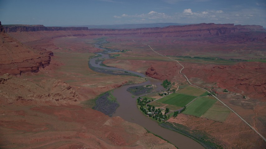 6K stock footage aerial video of the Sorrel River Ranch Resort and Spa by Colorado River, Moab, Utah Aerial Stock Footage | AX137_091