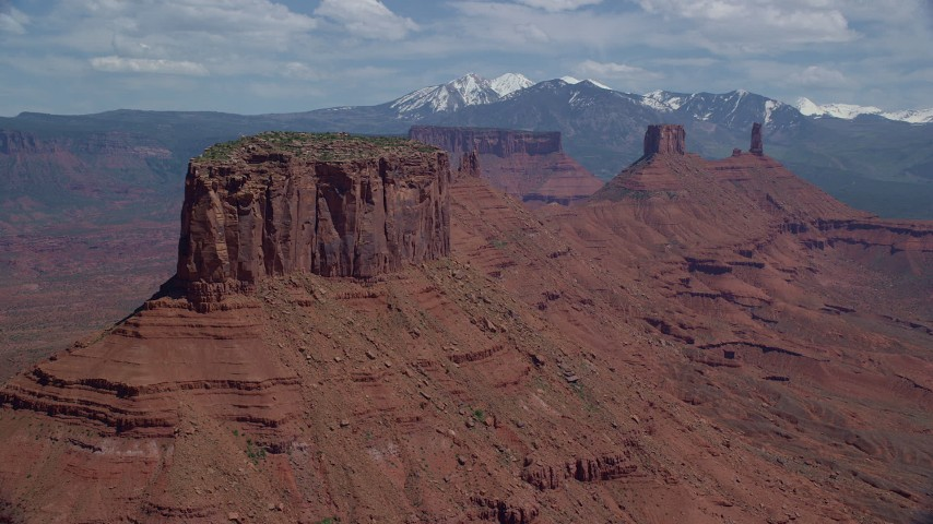 Buttes and Castleton Tower, Moab, Utah Aerial Stock Footage | AX137_093