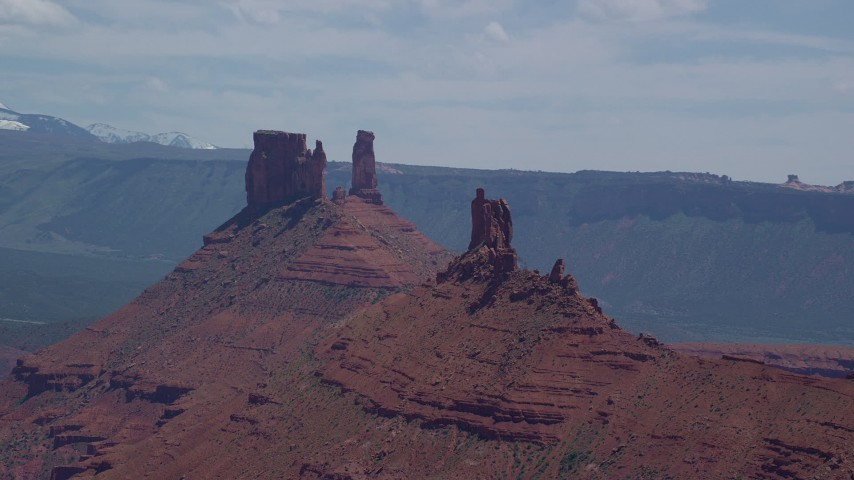 6K stock footage aerial video of three buttes and Castleton Tower, Moab, Utah Aerial Stock Footage | AX137_095