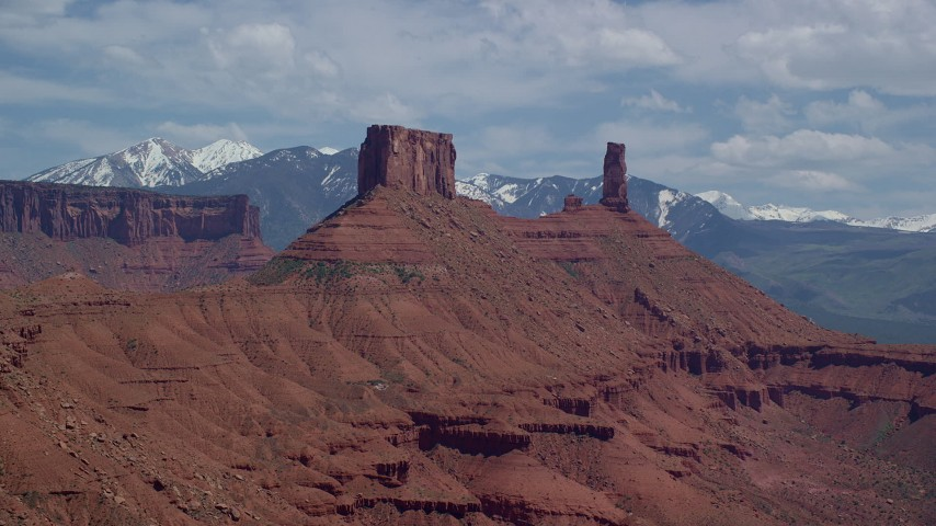 6K stock footage aerial video of an approach to a desert butte and Castleton Tower in Moab, Utah Aerial Stock Footage   AX137_130