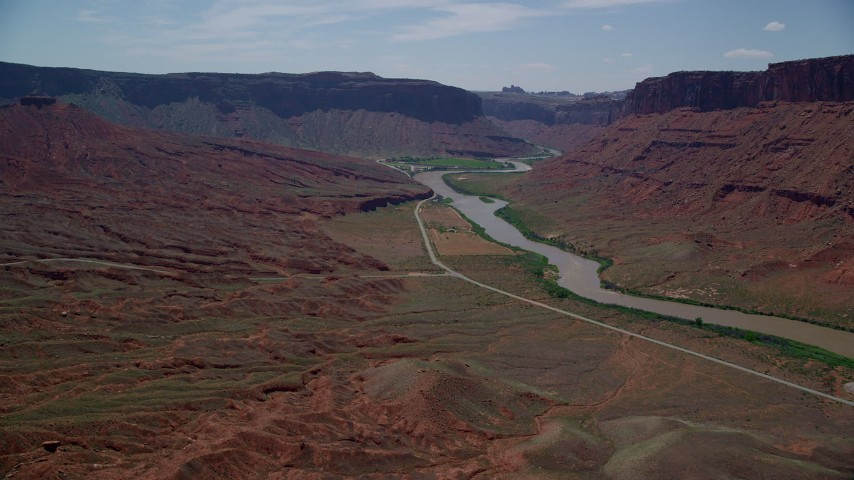 6K stock footage aerial video approach mesa by the Colorado River in Moab, Utah Aerial Stock Footage | AX137_150