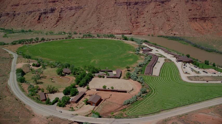 6K stock footage aerial video orbit Red Cliffs Lodge hotel in Moab, Utah Aerial Stock Footage | AX137_156