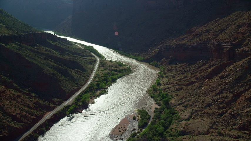 Rapids on Colorado River by State Route 128 in Moab, Utah Aerial Stock Footage | AX138_001