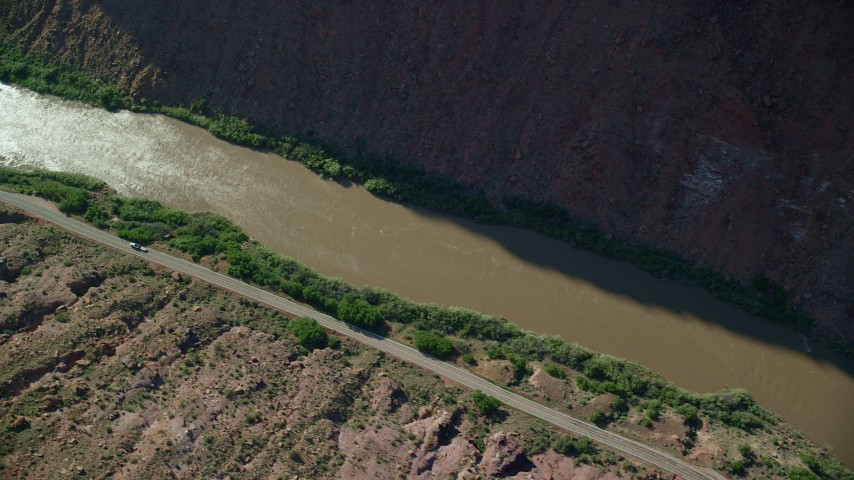 6K stock footage aerial video of a bird's eye of State Route 128 and Colorado River in Moab, Utah Aerial Stock Footage AX138_007 | Axiom Images