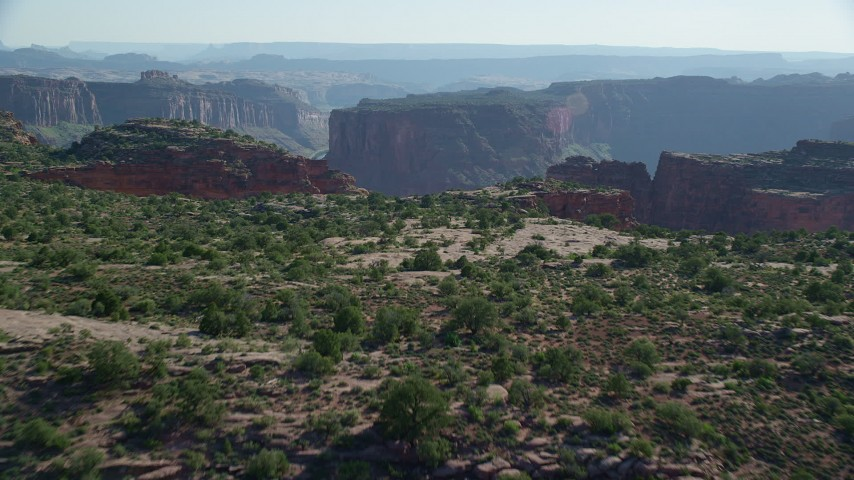 6K stock footage aerial video of approaching Big Bend canyon in Arches National Park, Utah Aerial Stock Footage | AX138_023
