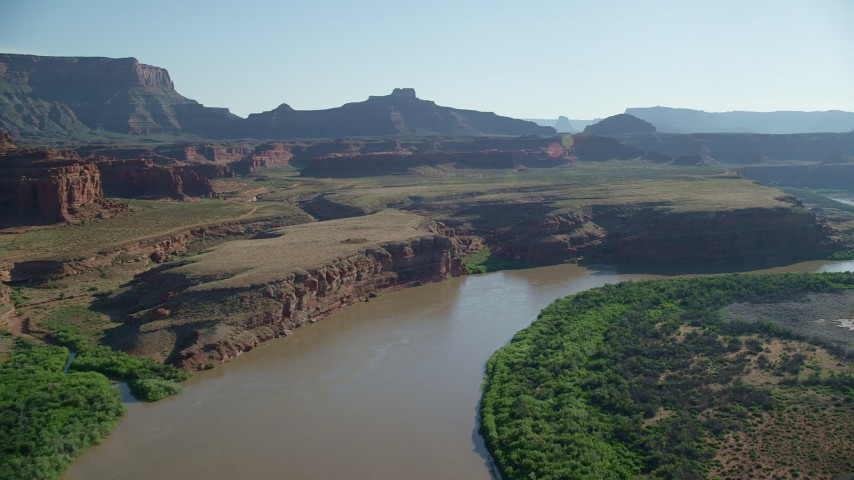 6K stock footage aerial video pan across mesas and buttes following Colorado River, Moab, Utah Aerial Stock Footage | AX138_067