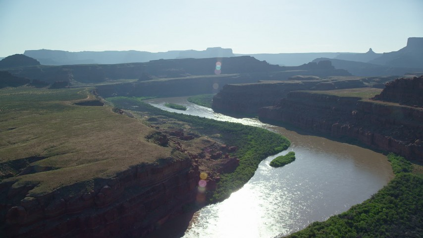 6K stock footage aerial video of following Colorado River through Meander Canyon, Moab, Utah Aerial Stock Footage | AX138_068