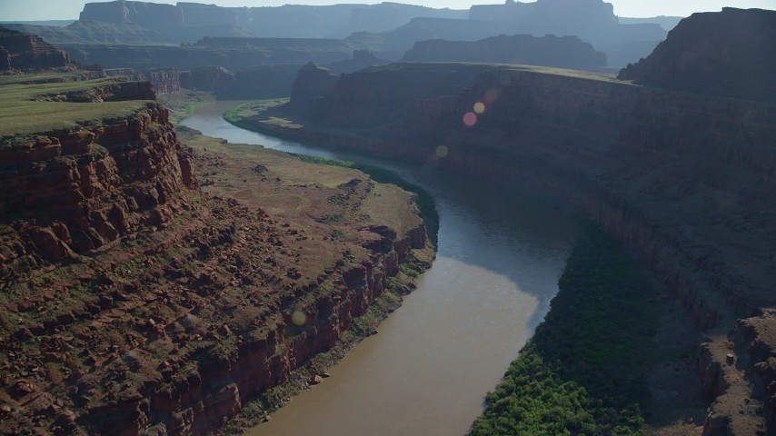 6K stock footage aerial video of the Colorado River flowing through Meander Canyon, Canyonlands National Park, Utah Aerial Stock Footage | AX138_074