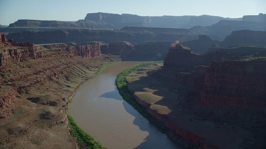 6K stock footage aerial video of the Colorado River in Meander Canyon at Canyonlands National Park, Utah Aerial Stock Footage | AX138_076