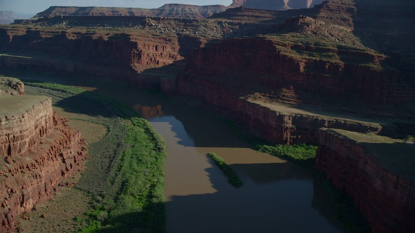 6K stock footage aerial video fly over Colorado River and Goose Neck, Meander Canyon, Canyonlands National Park, Utah Aerial Stock Footage | AX138_083