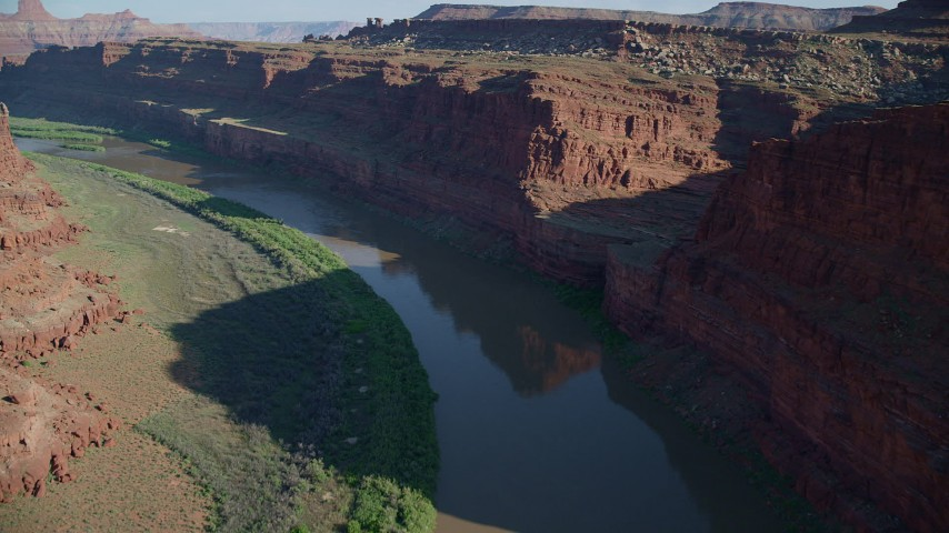 6K stock footage aerial video of the Colorado River in Goose Neck, Meander Canyon, Canyonlands National Park, Utah Aerial Stock Footage | AX138_084