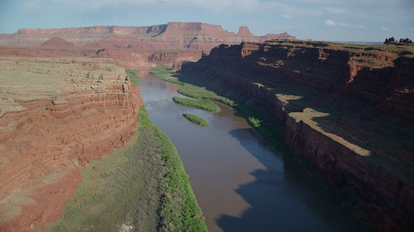 Fly over Colorado River River in Goose Neck, Meander Canyon, Canyonlands National Park, Utah Aerial Stock Footage   AX138_085