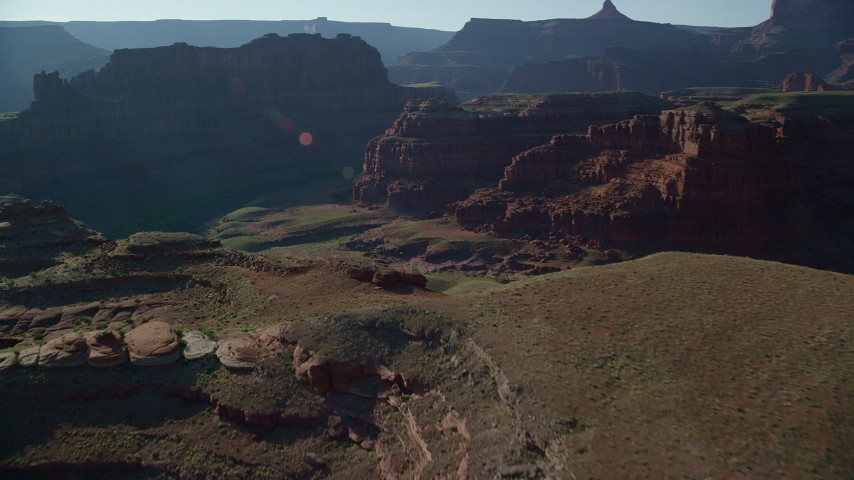 6K stock footage aerial video fly over Meander Canyon to reveal Colorado River, Canyonlands National Park, Utah Aerial Stock Footage | AX138_089