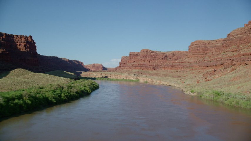 6K stock footage aerial video follow the river through Goose Neck in Meander Canyon, Canyonlands National Park, Utah Aerial Stock Footage | AX138_099