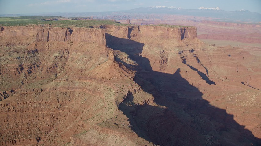 6K stock footage aerial video approach butte in Shafer Canyon in Canyonlands National Park, Utah Aerial Stock Footage | AX138_162