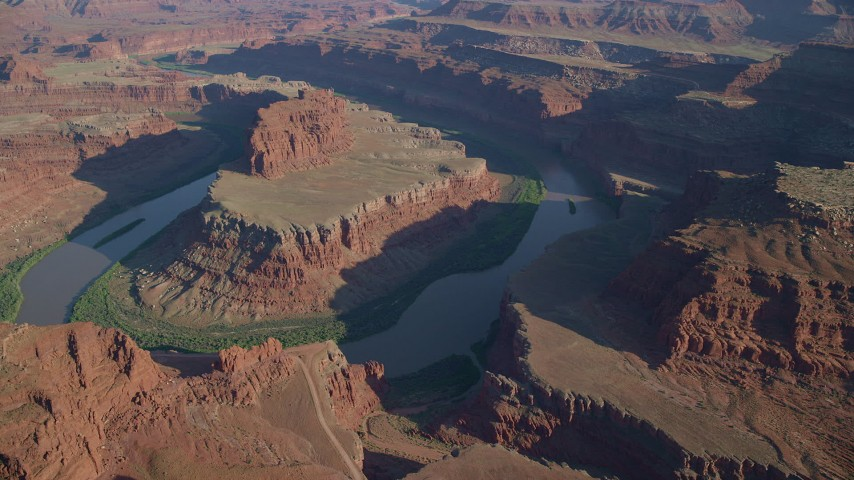 6K stock footage aerial video of Colorado River in the Goose Neck, Canyonlands National Park, Utah Aerial Stock Footage | AX138_163