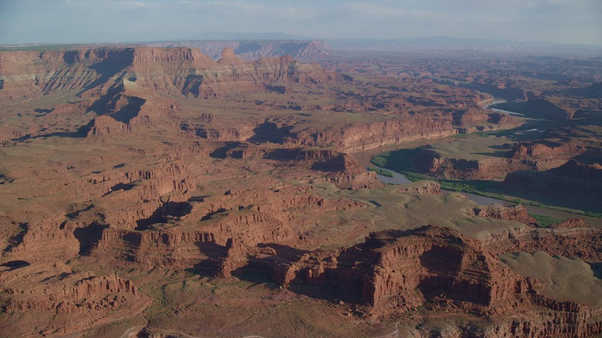 6K stock footage aerial video approach mesas beside the Colorado River in Moab, Utah Aerial Stock Footage | AX138_167