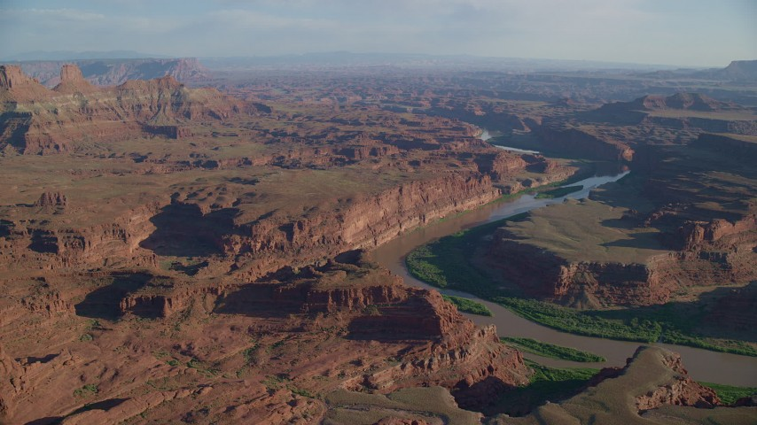 6K stock footage aerial video of desert mesas by Meander Canyon and Colorado River in Moab, Utah Aerial Stock Footage | AX138_169