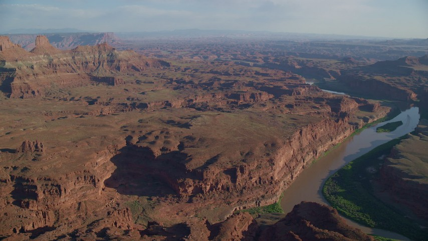 6K stock footage aerial video of Colorado River through Meander Canyon and side canyons in Moab, Utah Aerial Stock Footage | AX138_170