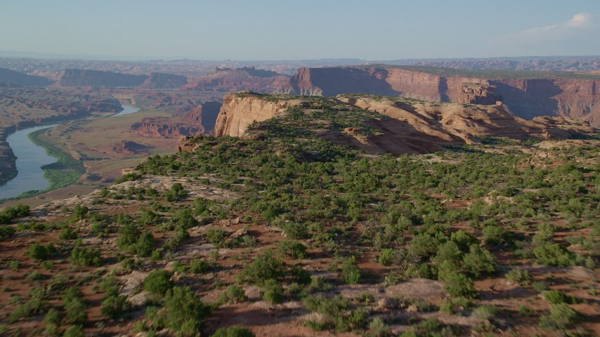 6K stock footage aerial video fly over a desert mesa in Moab, Utah Aerial Stock Footage | AX138_197