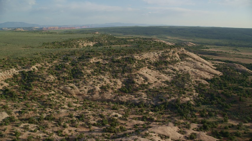 6K stock footage aerial video of flying over shallow canyon, Hatch Point, Moab, Utah Aerial Stock Footage | AX138_238