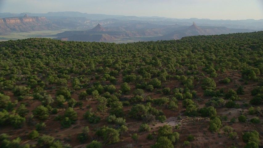 6K stock footage aerial video approach South Six-Shooter Peak, North Six-Shooter Peak, Moab, Utah Aerial Stock Footage | AX138_256