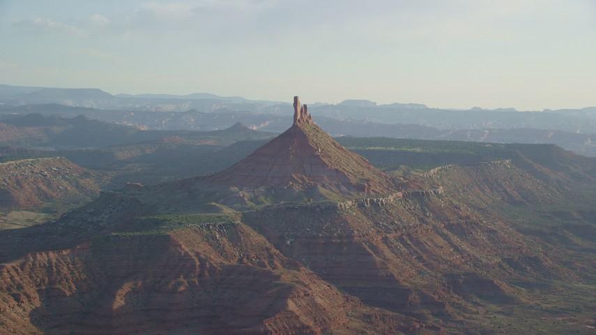 Approaching North Six-Shooter Peak, Moab, Utah Aerial Stock Footage | AX138_264