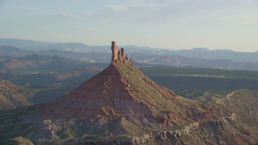 Approaching North Six-Shooter Peak, Moab, Utah Aerial Stock Footage | AX138_266