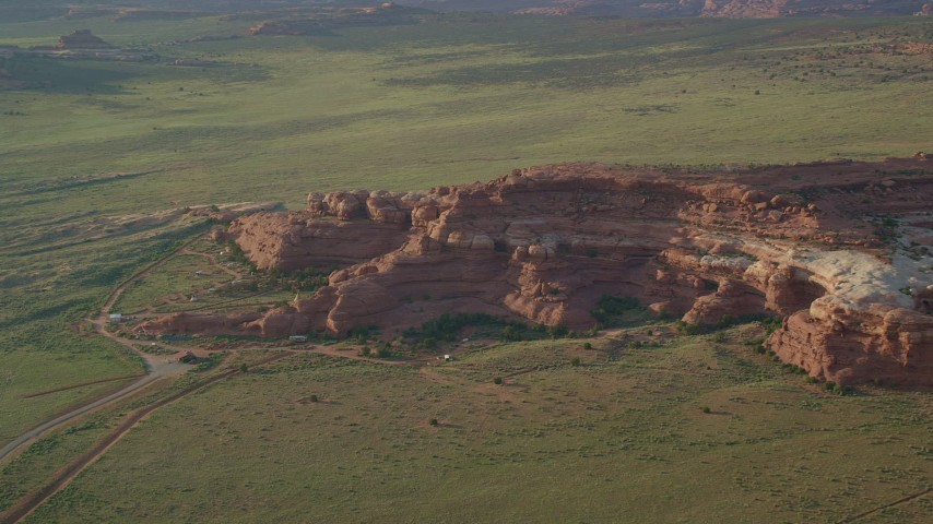 6K stock footage aerial video flyby Canyonlands Resort Park and rock formations, Canyonlands National Park, Utah Aerial Stock Footage | AX138_281