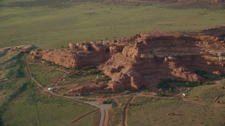 6K stock footage aerial video of orbiting rock formations and Canyonlands Resort Park, Canyonlands National Park, Utah Aerial Stock Footage | AX138_282