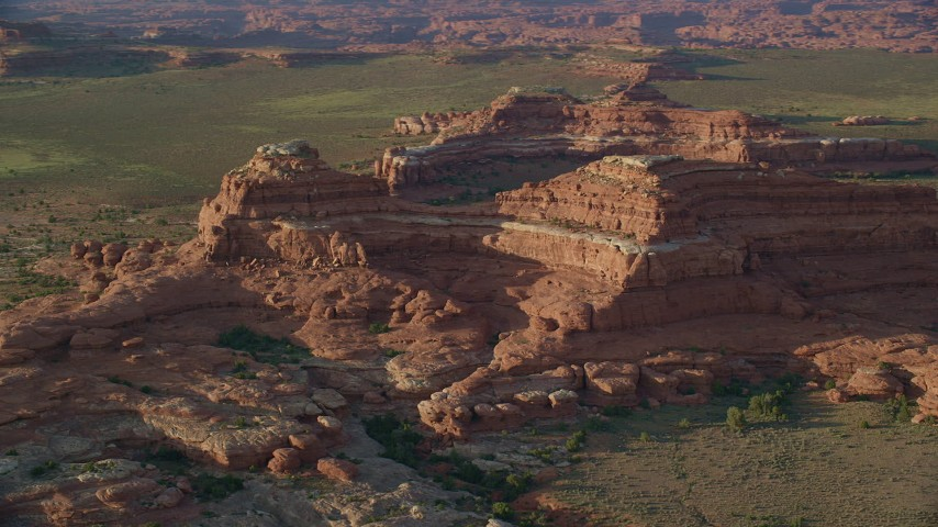 6K stock footage aerial video orbit desert rock formations in a desert valley, Canyonlands National Park, Utah Aerial Stock Footage | AX138_284