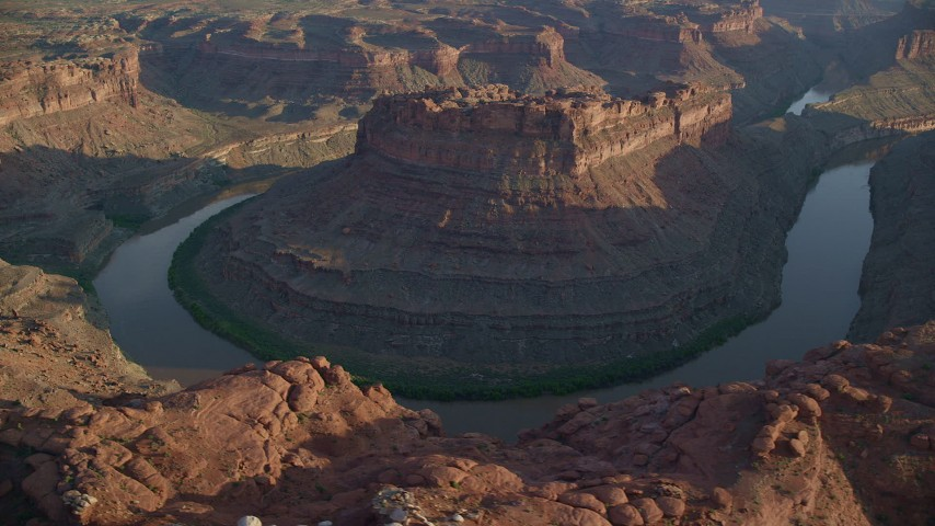6K stock footage aerial video circle The Loop East part of Meander Canyon and Colorado River, Canyonlands National Park, Utah, sunset Aerial Stock Footage | AX138_294