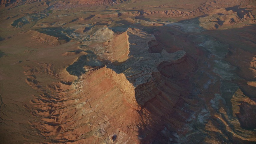 6K stock footage aerial video of approaching a butte in Lockhart Canyon, Moab, Utah, sunset Aerial Stock Footage | AX138_344