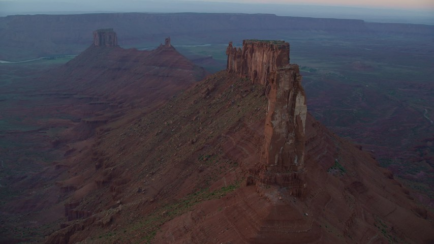 6K stock footage aerial video of orbiting Castleton Tower at sunset, Moab, Utah Aerial Stock Footage | AX138_417
