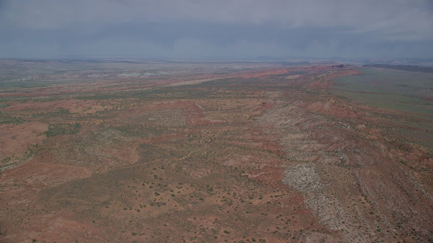 Flying over open desert, Arches National Park, Utah Aerial Stock Footage | AX139_005