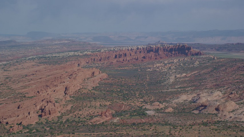 6K stock footage aerial video of a wide view of Devil's Garden and desert landscape, Arches National Park, Utah Aerial Stock Footage | AX139_009