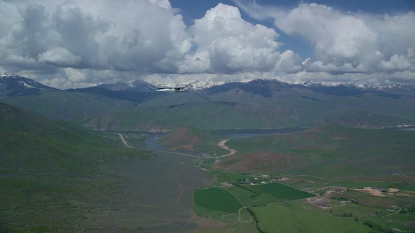 6K stock footage aerial video of aTecnam P2006T flying near Deer Creek Reservoir, Utah Aerial Stock Footage | AX140_158