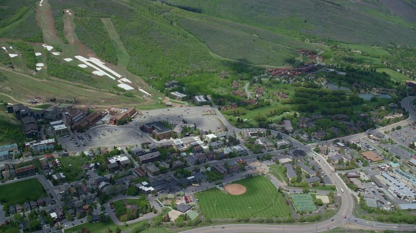 6K stock footage aerial video orbit Park City Mountain Resort, Park City, Utah Aerial Stock Footage | AX140_203