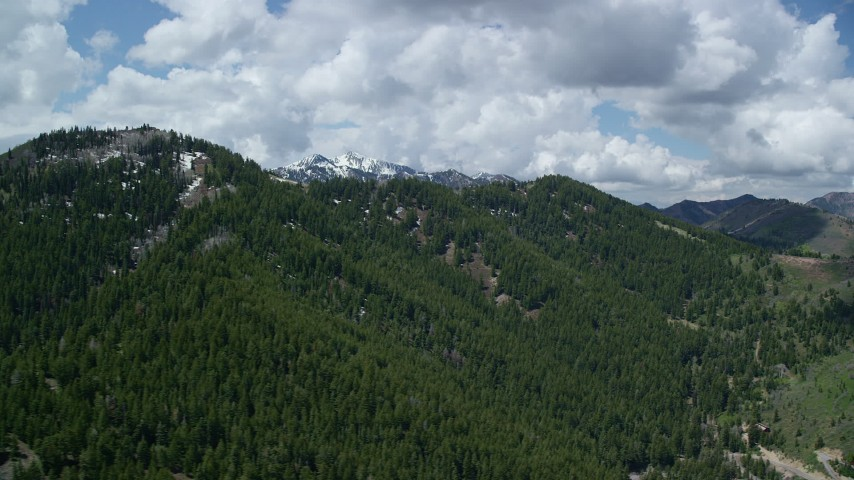 Flying by green mountains, snowy peaks in the distance, Wasatch Range, Utah Aerial Stock Footage   AX140_228