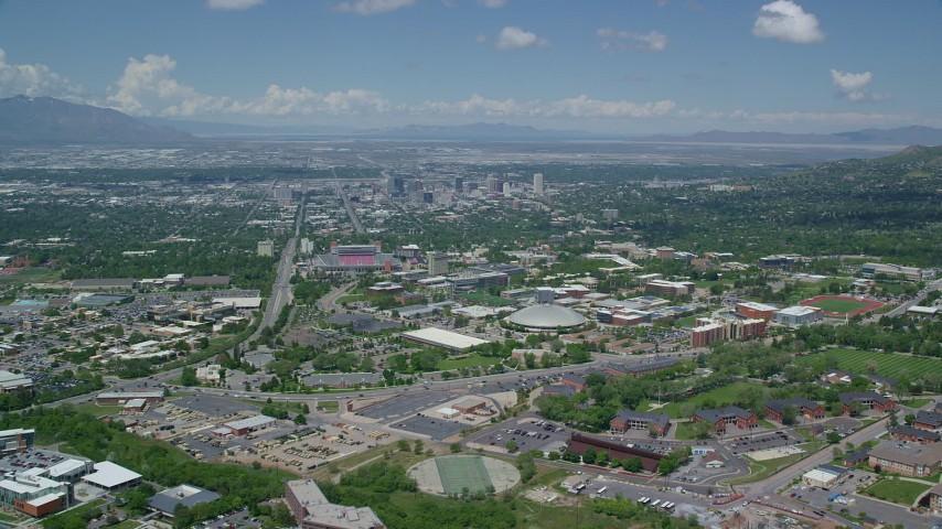 University of Utah, Jon M. Huntsman Center, Downtown Salt Lake City, Utah Aerial Stock Footage | AX140_247