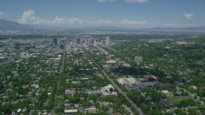 6K stock footage aerial video of approaching Downtown Salt Lake City and Utah State Capitol Aerial Stock Footage | AX140_250