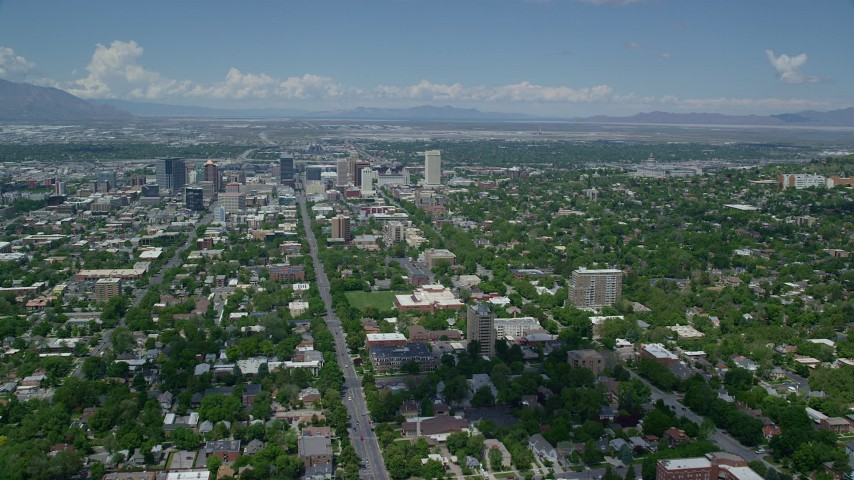 Approaching Downtown Salt Lake City, Utah State Capitol Aerial Stock Footage | AX140_251