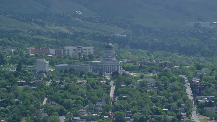 Flying away from the Utah State Capitol, Utah  Aerial Stock Footage | AX140_261