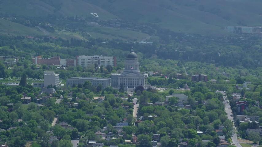 6K stock footage aerial video of flying away from the Utah State Capitol, Utah Aerial Stock Footage | AX140_261