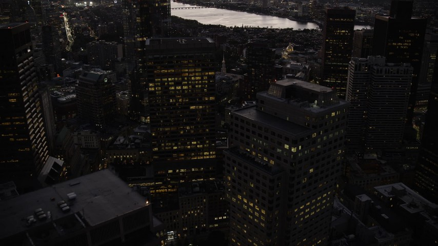 6K stock footage aerial video flying over skyscrapers, Downtown Boston, Massachusetts, twilight Aerial Stock Footage | AX141_027