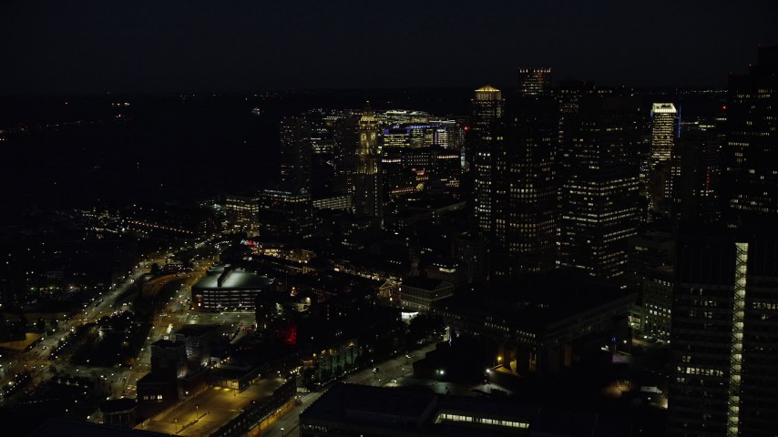 6K stock footage aerial video approaching Custom House Tower, Downtown Boston, Massachusetts, night Aerial Stock Footage | AX141_075