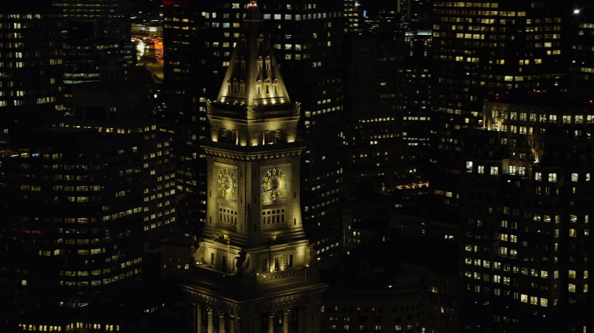 6K stock footage aerial video orbiting top of Custom House Tower, Downtown Boston, Massachusetts, night  Aerial Stock Footage | AX141_078