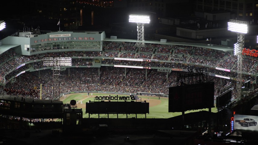 6K stock footage aerial video flying by baseball game, Fenway Park, Boston, Massachusetts, night Aerial Stock Footage | AX141_081