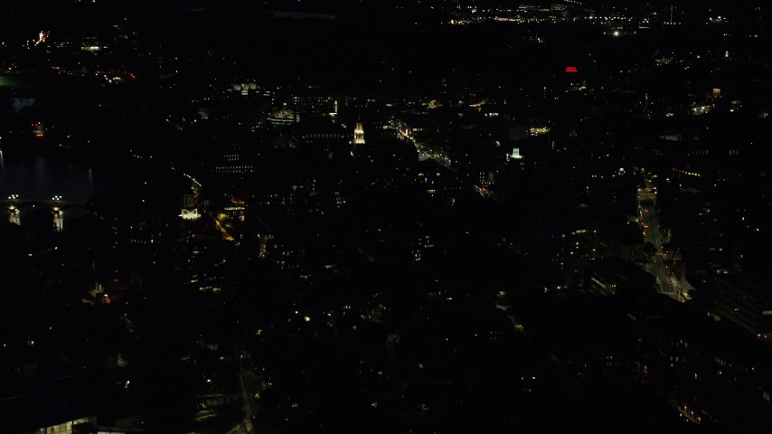 6K stock footage aerial video approaching Harvard University, Massachusetts, night Aerial Stock Footage | AX141_088